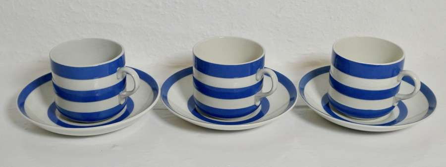 Cornishware Cups and Saucers