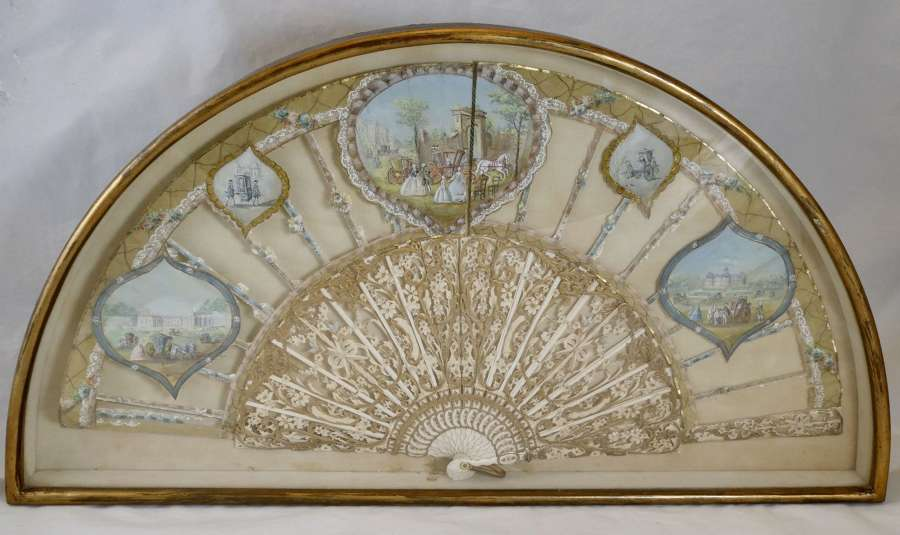 Cased Italian Silk and Ivory Fan