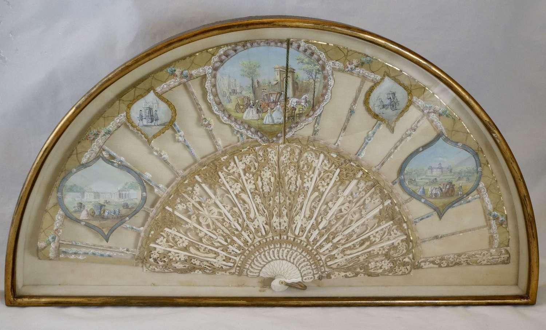 Cased Italian Silk and Ivory Fan