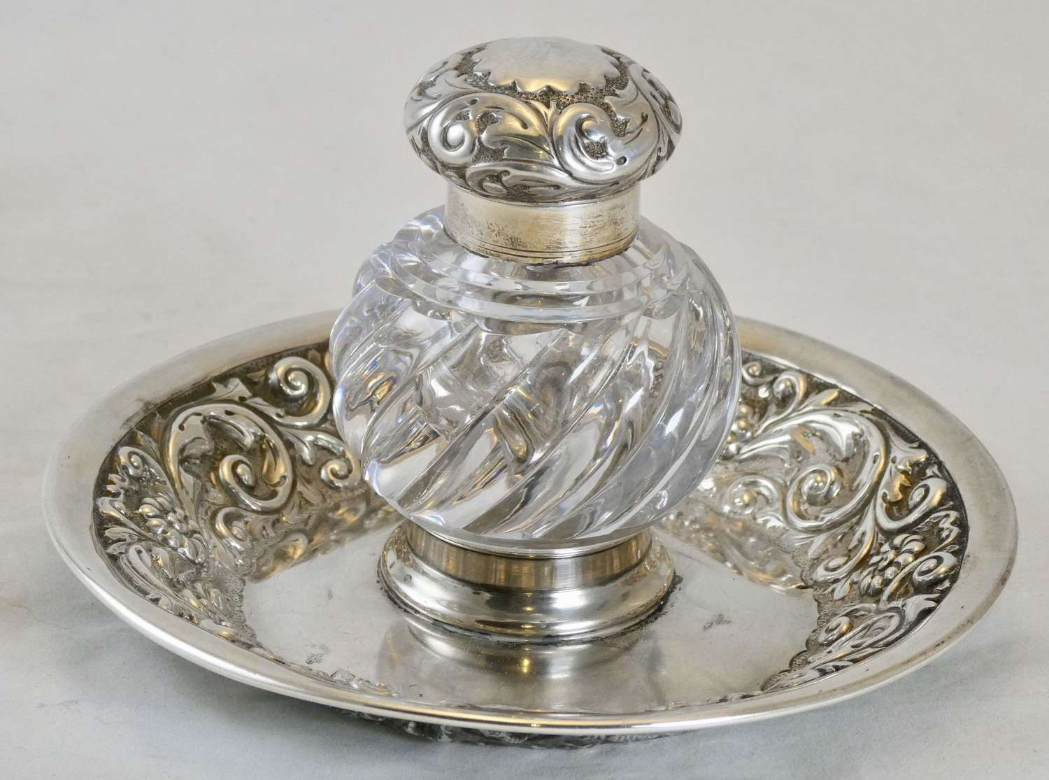 Victorian Silver and Cut Glass Inkwell