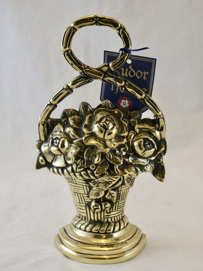 Brass Basket of Flowers Doorstop