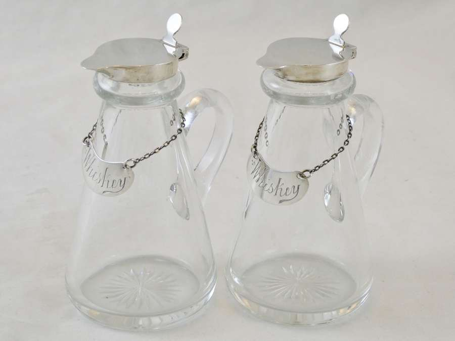 Pair of Glass and Silver Whisky Tots