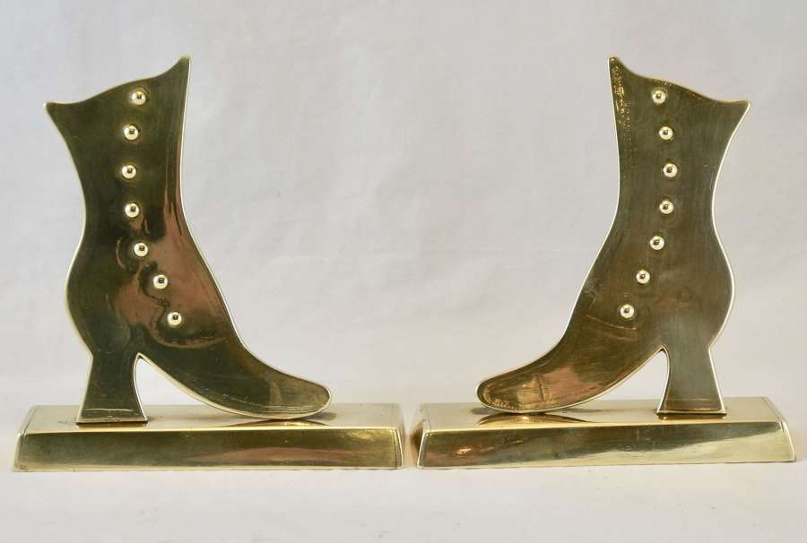 Pair of Boot Brass Chimney Ornaments