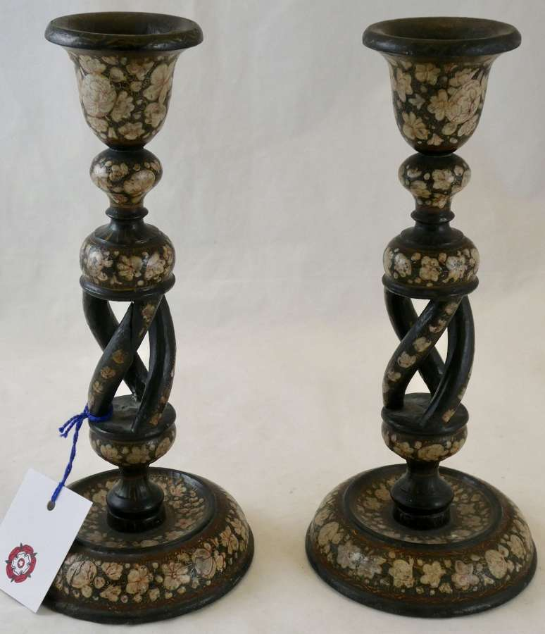 Pair of Paper Maché Kashmiri Candlesticks