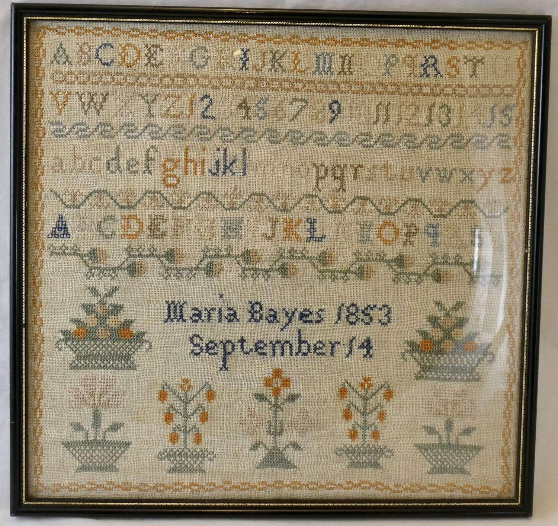 Sampler, Maria Bayes, 1853