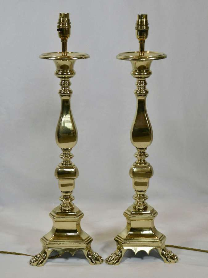 Pair of 19th Century Pricket Lamps