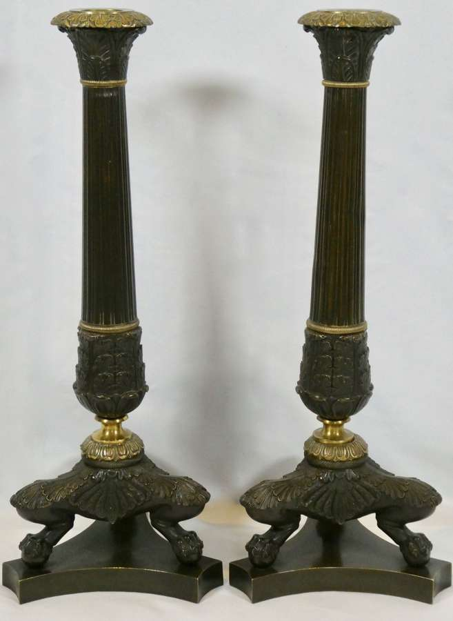 Pair of French Empire Bronze Candlesticks