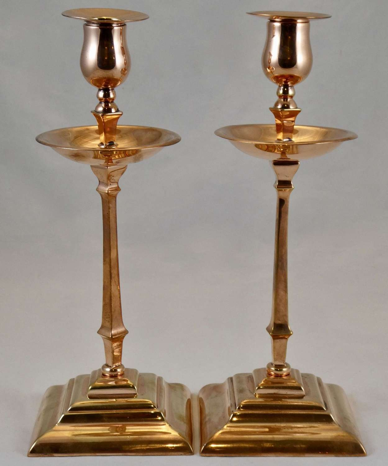 Pair of Copper Candlesticks by Benson