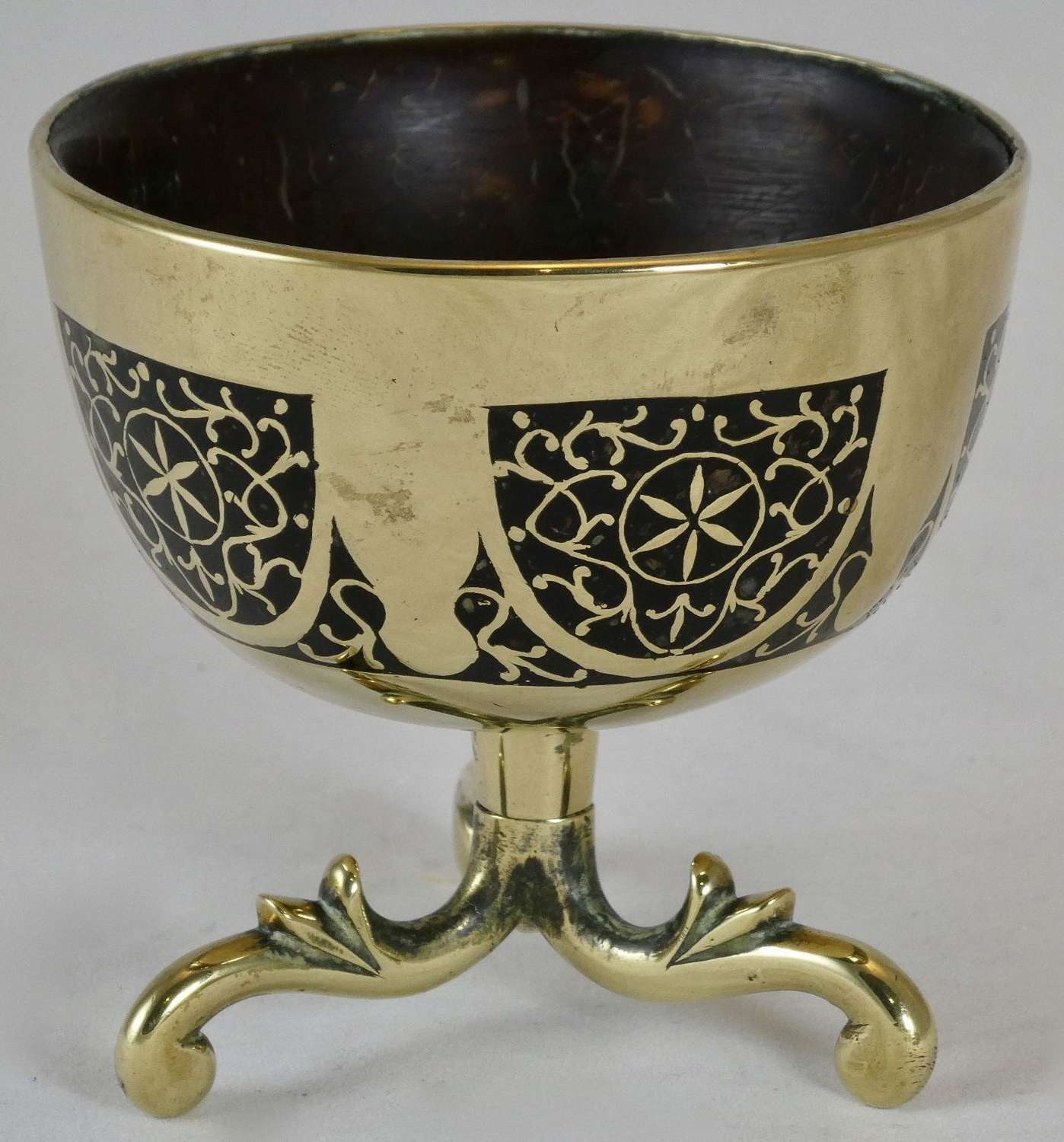 19th Century Brass Inlaid Bowl