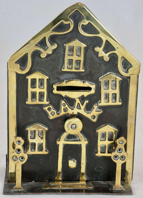 19th Century Brass and Iron Money Bank