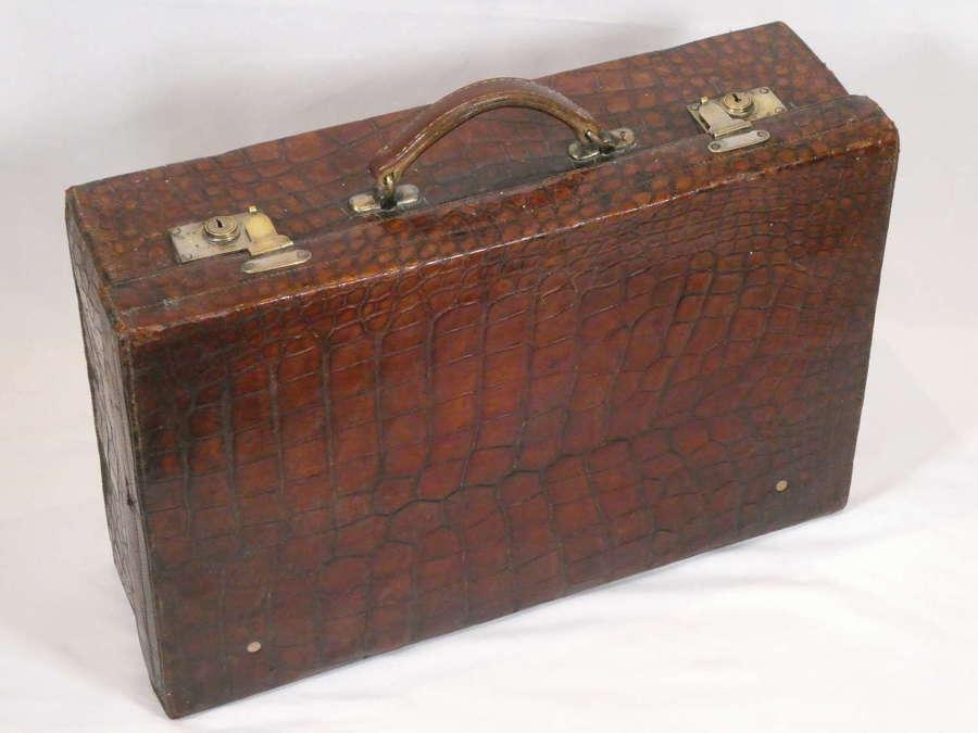 Early 20th Century Crocodile Suitcase