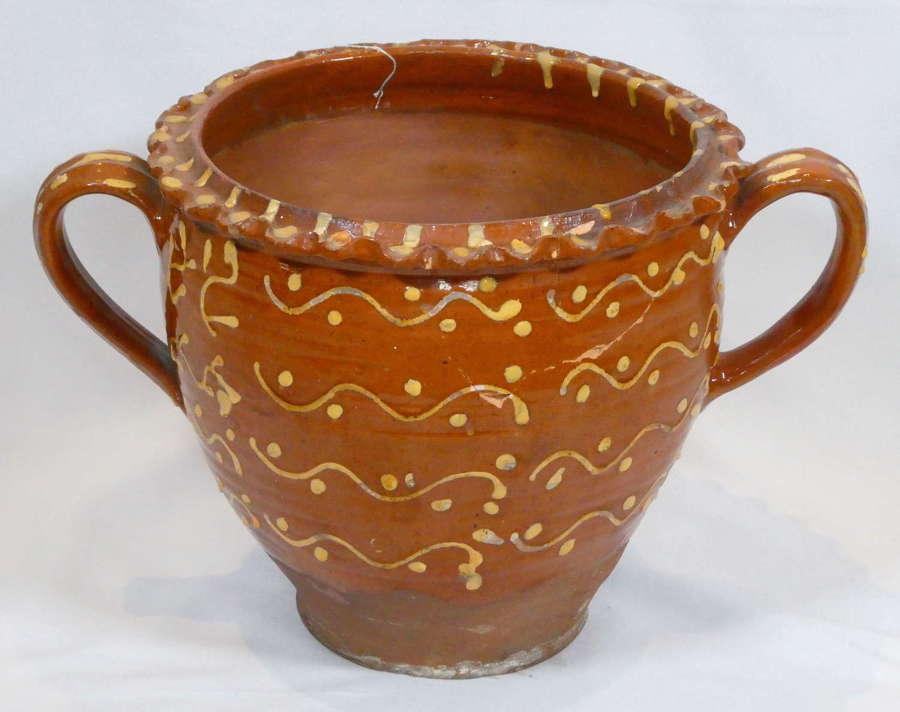 Large 19th Century Slip Decorated Pot