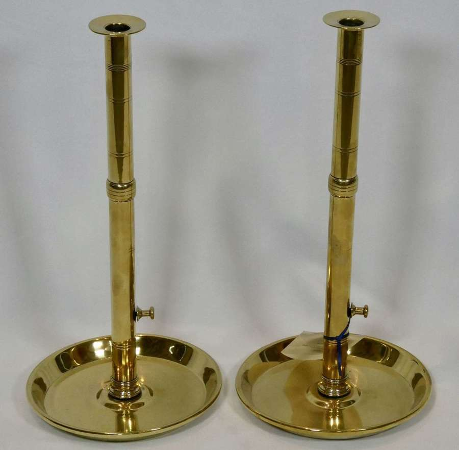 Pair of 19th Century Brass Pulpit Candlesticks