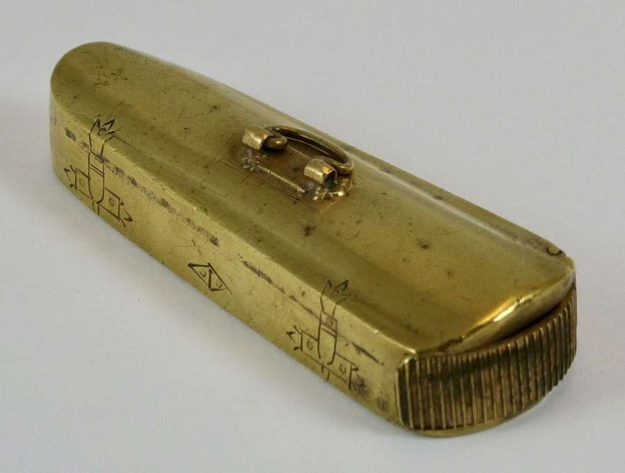 Brass Vesta in the form of a Violin Case