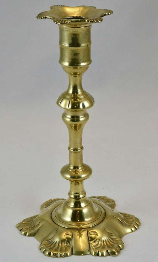 Fine mid 18th Century Seamed Brass Candlestick
