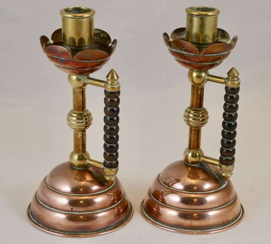Pair of late 19th Century Copper and Brass Candlesticks