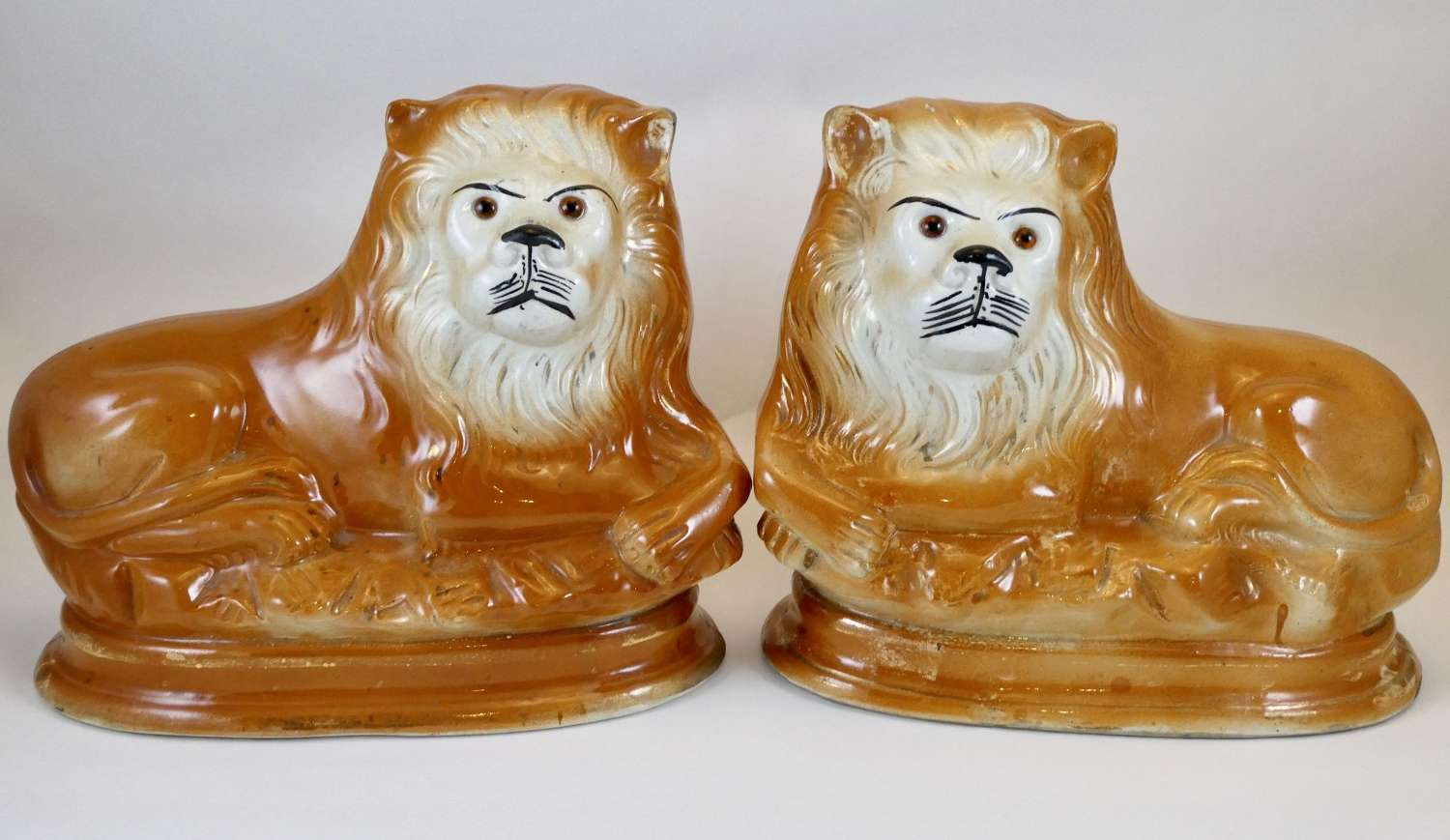 Pair of Late Victorian Staffordshire Lions