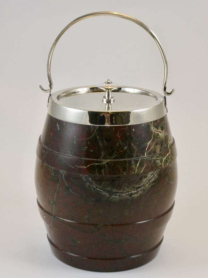 Fine Cornish Serpentine Biscuit Barrel