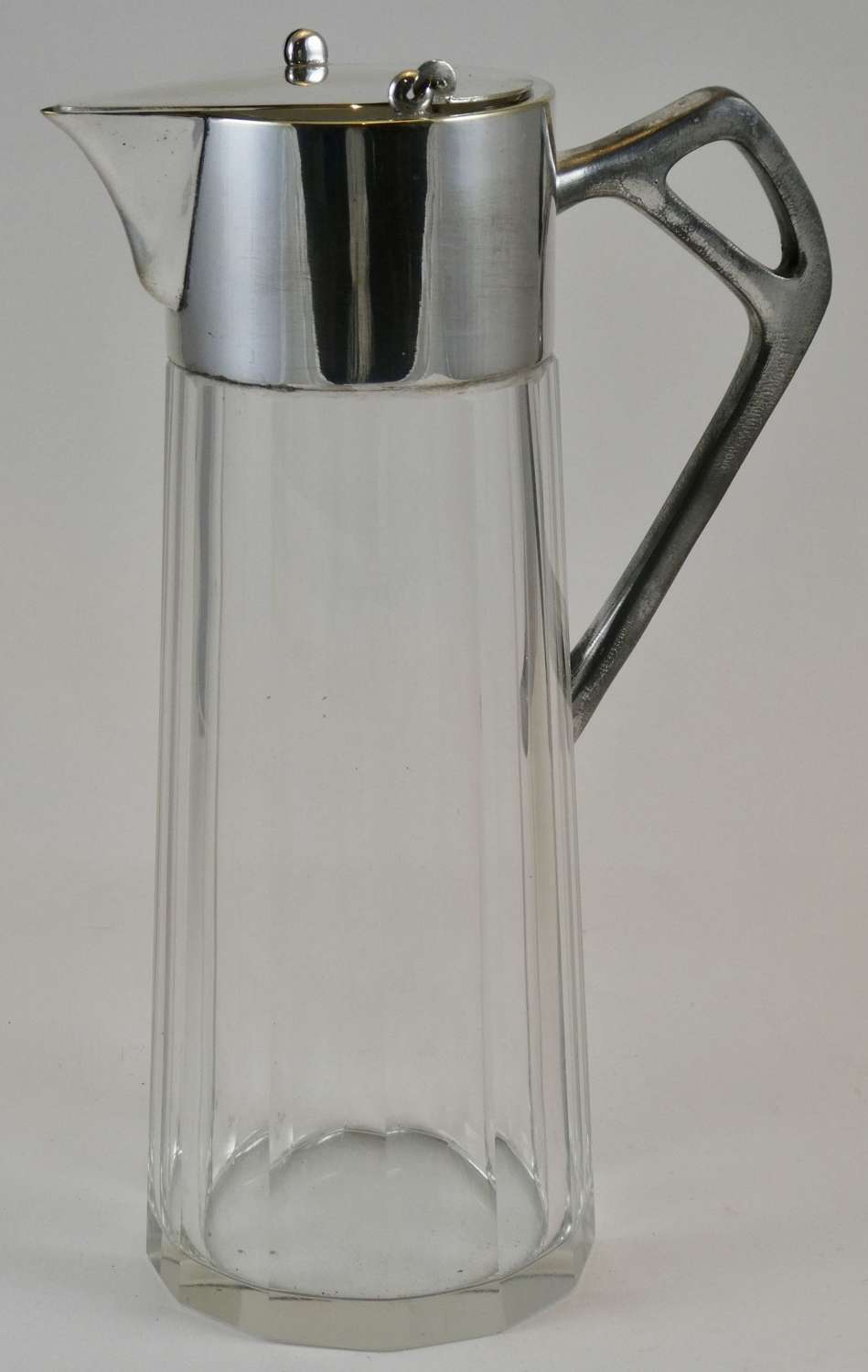 Silver Plate and Glass Wine Jug
