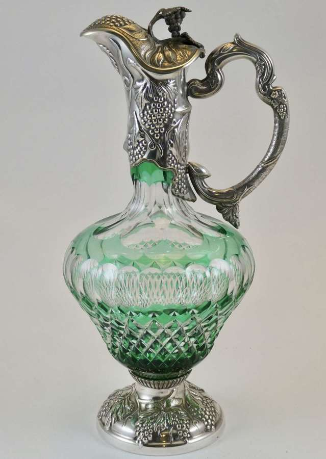 Silver Plate and Cased Glass Claret Jug