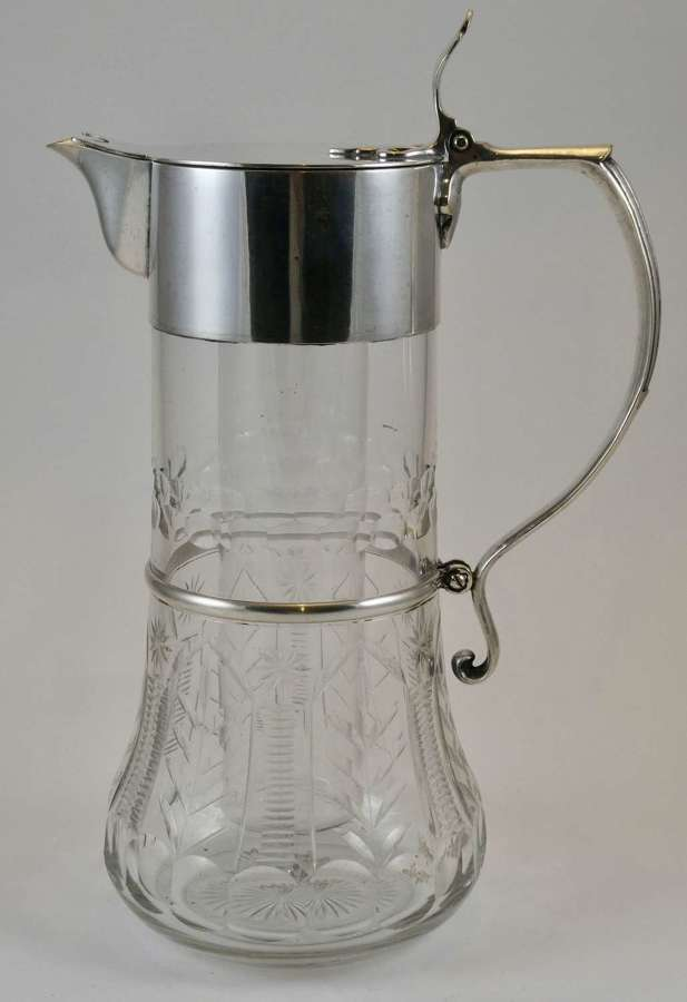 Silver Plate and Cut Glass Jug