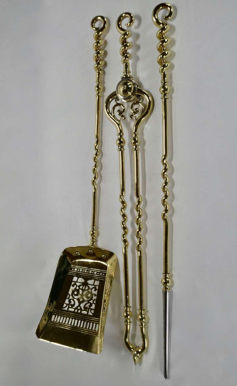 Set of 19th Century Brass Fire Tools