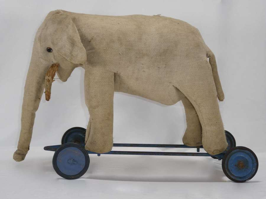 Antique French Elephant Pull-Along Toy