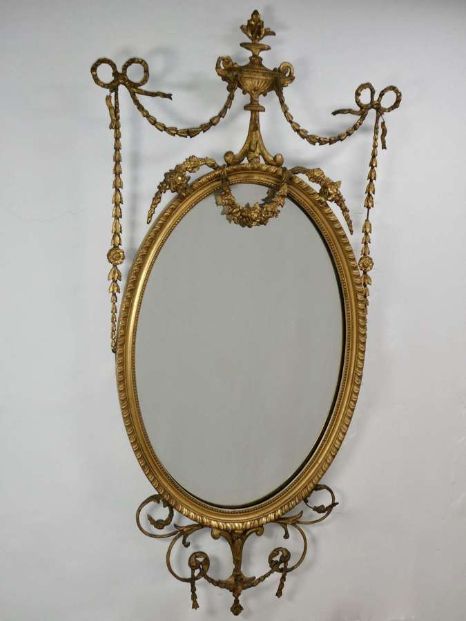 Late 19th Century Adam Style Gilt Mirror