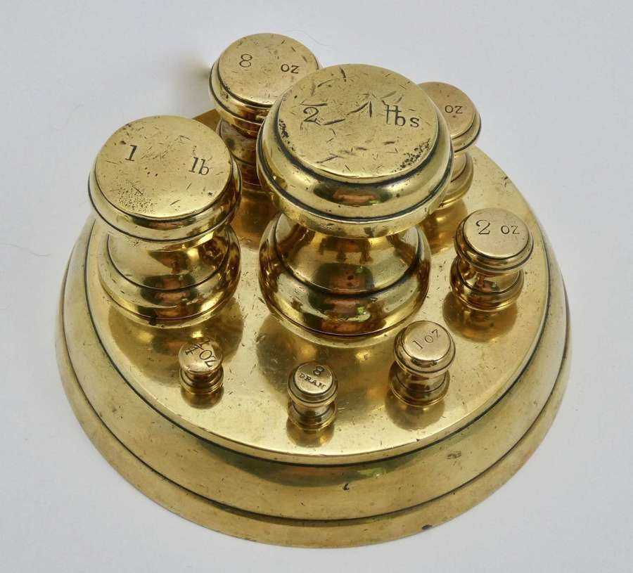 Set of Brass Scale Weights, Circa 1900