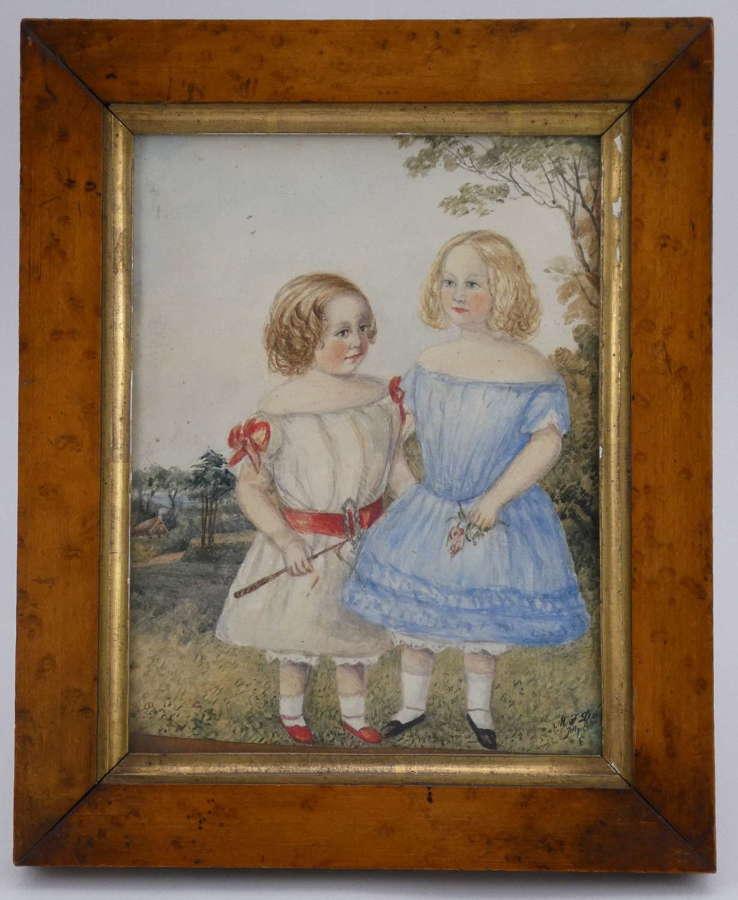 Watercolour of Two Girls, Circa 1840