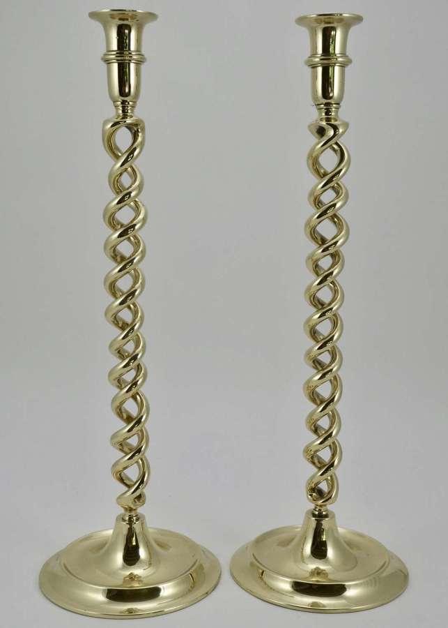 Pair of Brass Barleytwist Candlesticks, circa 1900