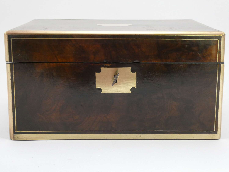 Brass-bound Walnut Writing Slope, circa 1870