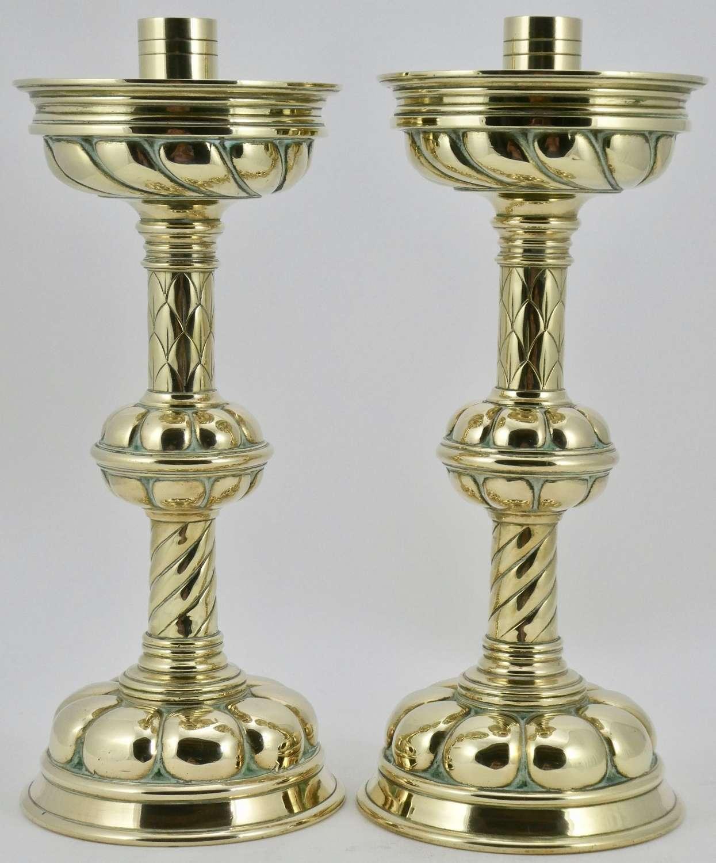 Pair of 19th Century Brass Altar Candlesticks