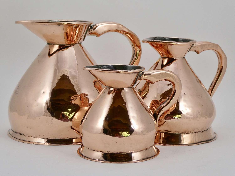 Set of Three Victorian Copper Measures