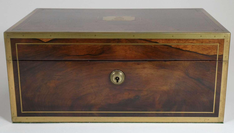 19th Century Brass Bound Rosewood Jewellery Box, circa 1830