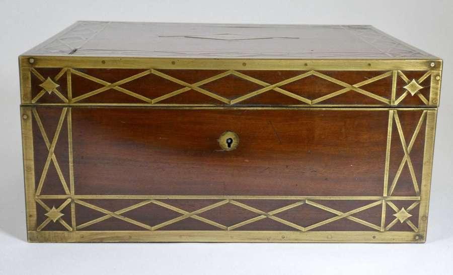 Brass Bound Victorian Jewellery Box