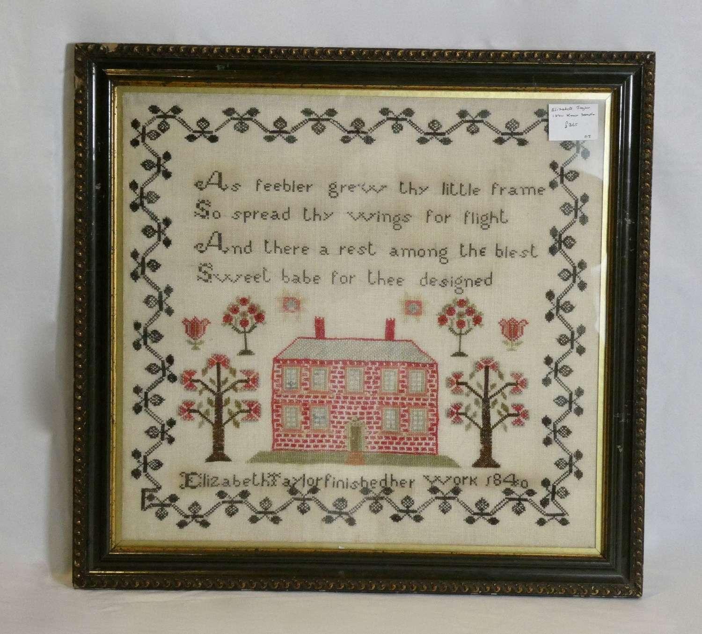 1840 Sampler by Elizabeth Taylor
