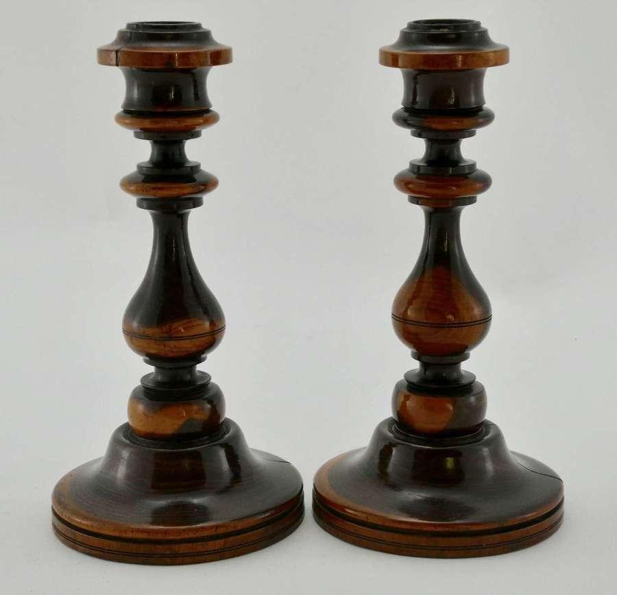 Pair of 19th Century Lignum Vitae Candlesticks