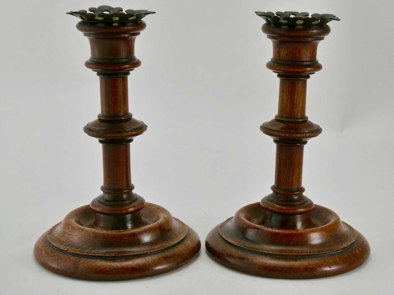 Pair of Victorian Oak Candlesticks
